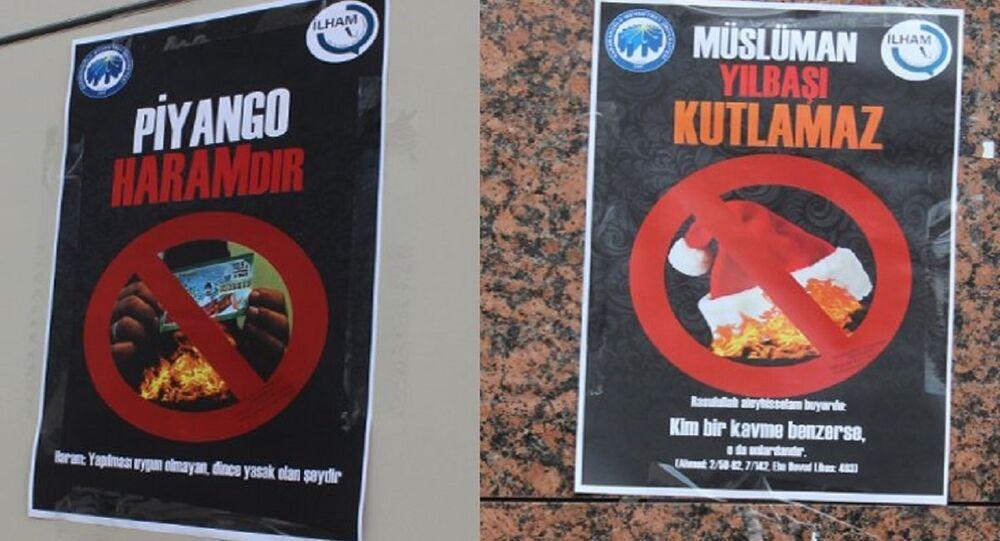 'Müslüman yılbaşı kutlamaz' ve 'Piyango haramdır' yazılı afişler