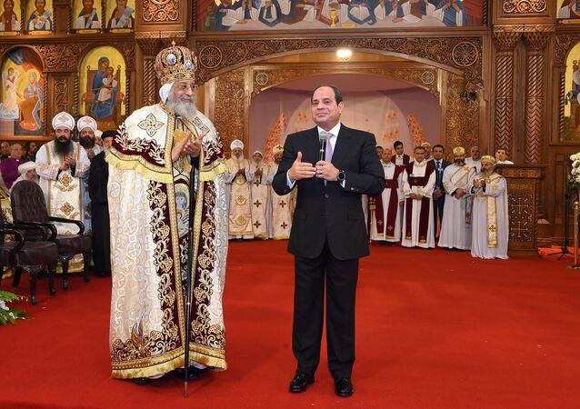 Cumhurbaşkanı Abdülfettah es-Sisi ile Mısır Kıpti Kilisesi lideri Papa 2. Tavadros