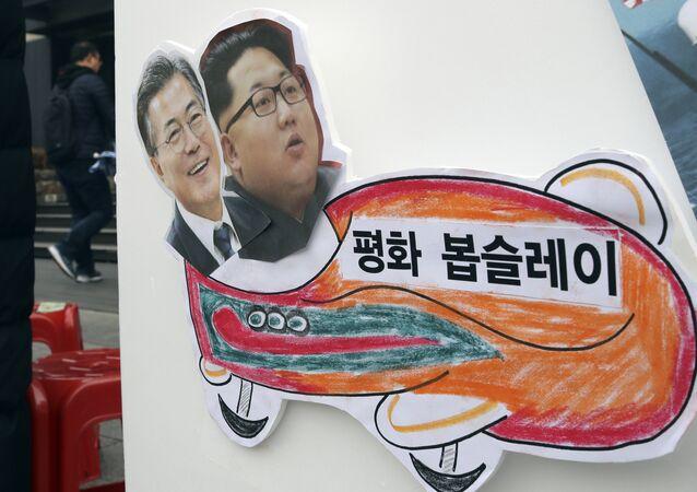 Barış Kızağı: Barışçı bir Olimpiyat yapılması talebiyle Seul'deki bir eylemdekullanılan ve üzerinde Kuzey ve Güney Kore liderlerinin bulunduğu döviz