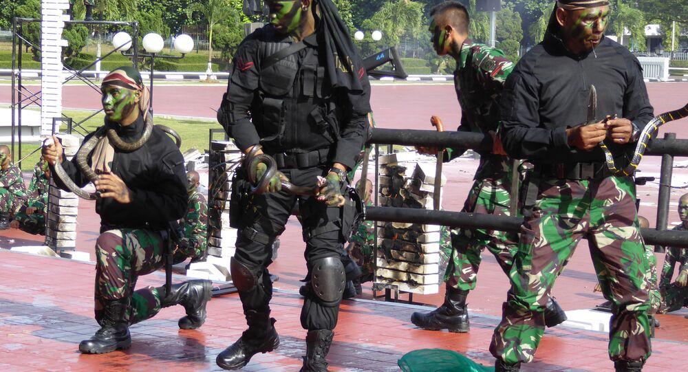 Jim Mattis için Endonezya özel kuvvetler askerlerinden gösteri