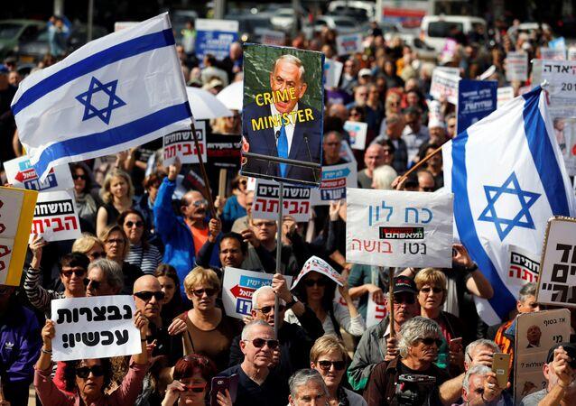 Tel Aviv'de yolsuzluk protestosu