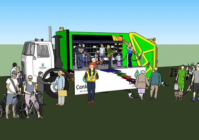 çöp kamyonu-gezici kütüphane-çankaya belediyesi