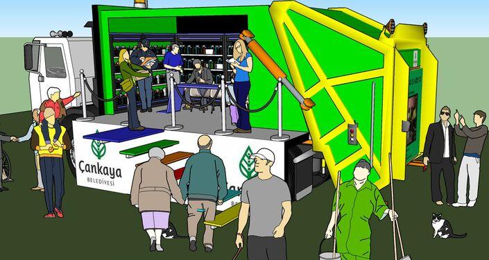 Ankara'da çöp kamyonu gezici kütüphane olacak