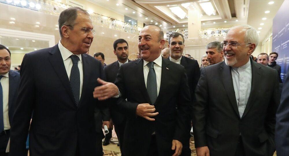 Türkiye-Rusya-İran Dışişleri Bakanları Kazakistan'da, Suriye konulu 9. Astana toplantısında.
