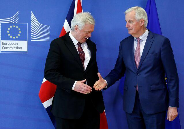 AB Komisyonu'nun Brexit Başmüzakerecisi Michel Barnier ve İngiltere Brexit Bakanı David Davis