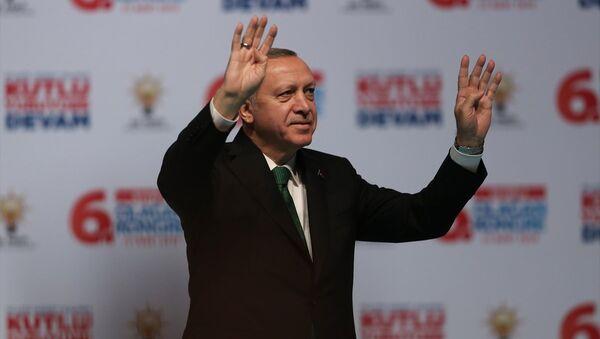 Cumhurbaşkanı ve AK Parti Genel Başkanı Recep Tayyip Erdoğan, AK Parti Beyoğlu 6. Olağan İlçe Kongresi'ne katılarak konuşma yaptı. - Sputnik Türkiye