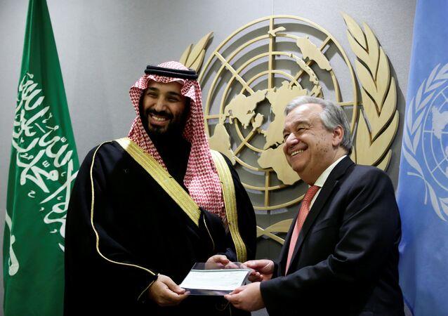 İki haftalık ABD ziyareti gerçekleştiren Suudi Arabistan Veliaht Prensi Muhammed bin Selman, New York'taki Birleşmiş Milletler merkezinde BM Genel Sekreteri Antonio Guterres tarafından ağırlandı. 27 Mart 2018