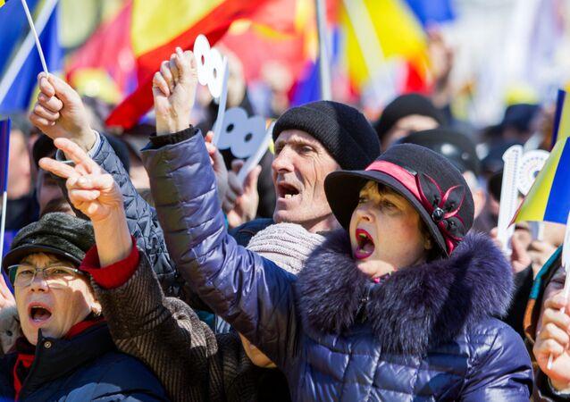 Romanya ve Moldova'nın birleşmesi talebiyle gerçekleştirilen gösteri