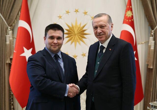 Ukrayna Dışişleri Bakanı Pavel Klimkin ile Cumhurbaşkanı Recep Tayyip Erdoğan