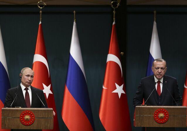 Rusya Devlet Başkanı Putin ve Türkiye Cumhurbaşkanı Erdoğan basın toplantısında