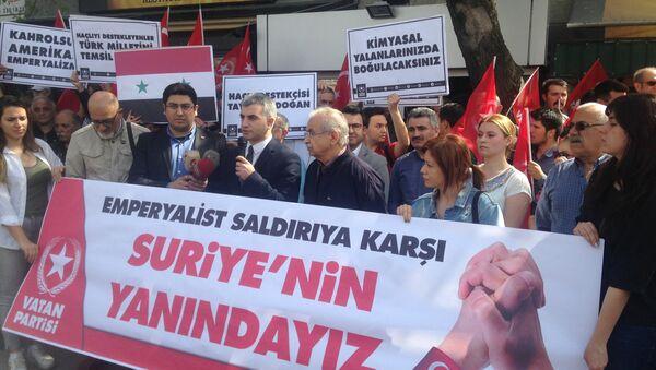 Vatan Partisi Suriye'ye ABD öncülüğünde yapılan saldırıyı protesto etti - Sputnik Türkiye