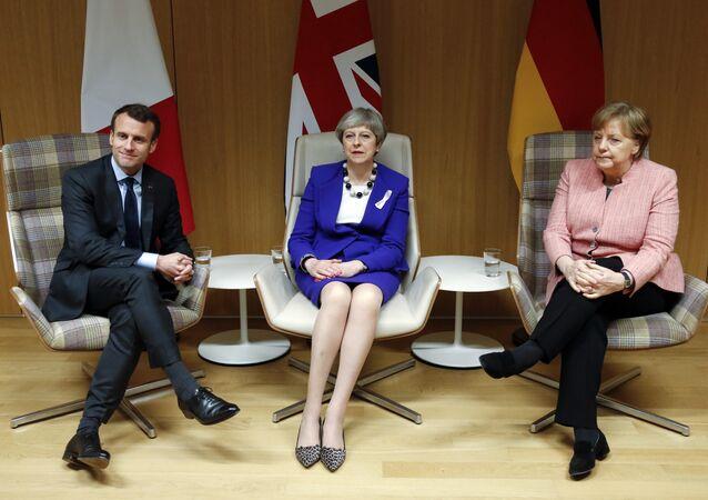 Fransa Cumhurbaşkanı Macron-İngiltere Başbakanı May ve Almanya Başbakanı Merkel