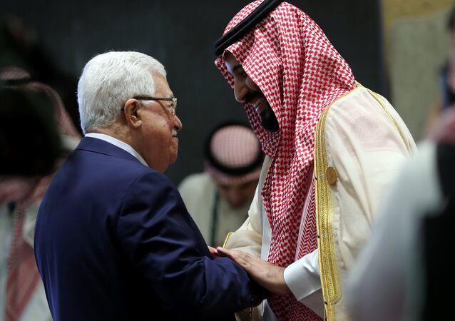 15 Nisan 2018, 29. Arap Birliği zirvesi, Mahmud Abbas ile Muhammed bin Selman