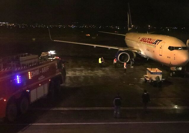Erzurum Havalimanı'nda kalkışa hazırlanan uçağın motor kısmından alev çıkması üzerine yolcular tahliye edildi.