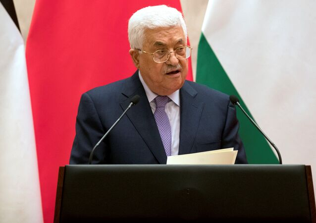 Palestinian President Mahmoud Abbas speaks during a signing ceremony at the Great Hall of the People in Beijing, China, July 18, 2017.