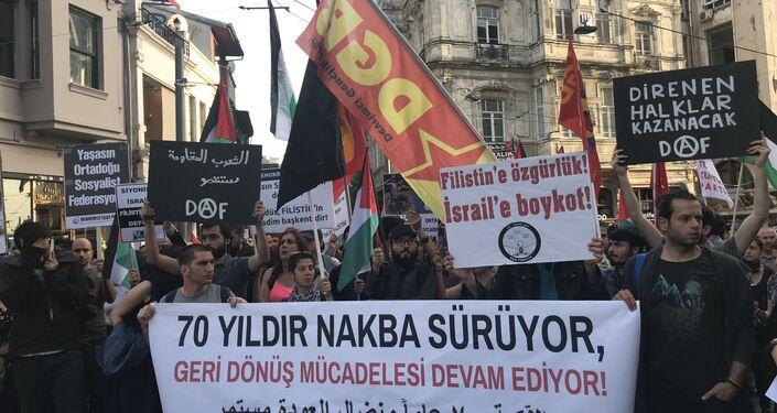 İstanbul'da Nakba protestosu
