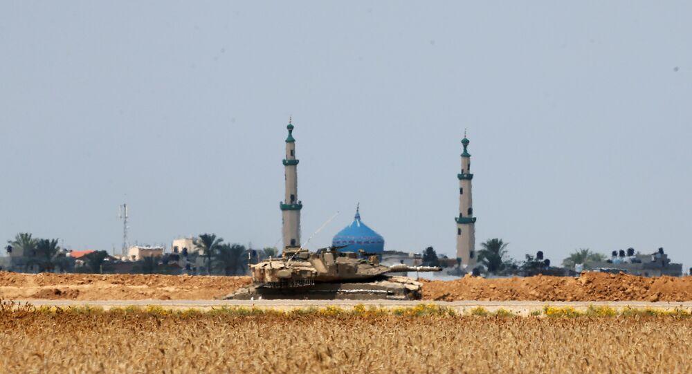 İsrail tankı- İsrail-Gazze sınırı