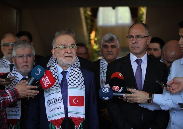 Saadet Partisi Genel Başkanı ve cumhurbaşkanı adayı Temel Karamollaoğlu'nun Filistin Büyükelçiliği'ne ziyareti.