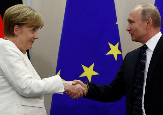 Rusya Devlet Başkanı Vladimir Putin-Almanya Başbakanı Angela Merkel
