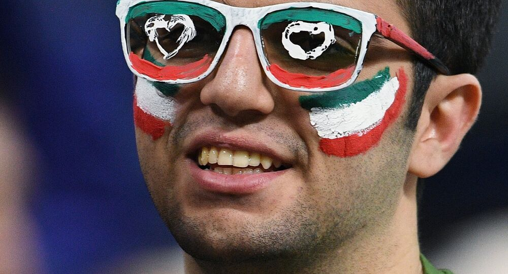 An Iranian football fan during a friendly match between Russia and Iran