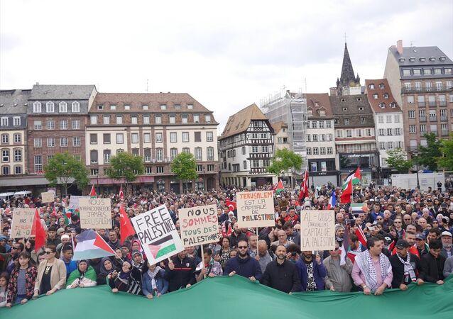 Fransa'da Filistin'e destek gösterileri