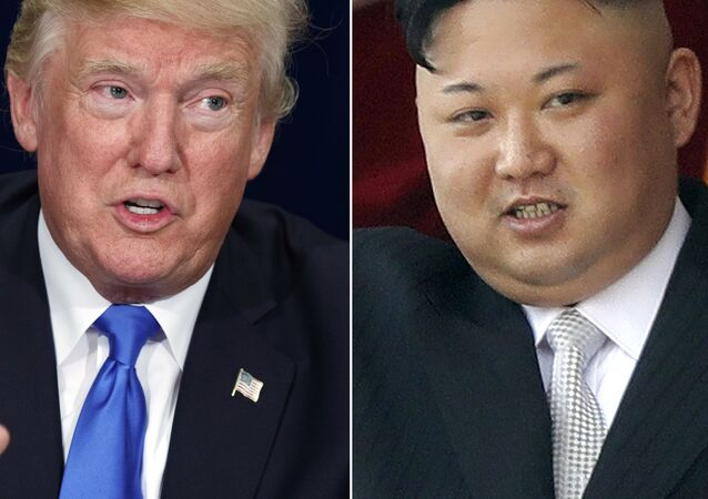 President Donald Trump, left, in Dallas and North Korean leader Kim Jong Un in Pyongyang