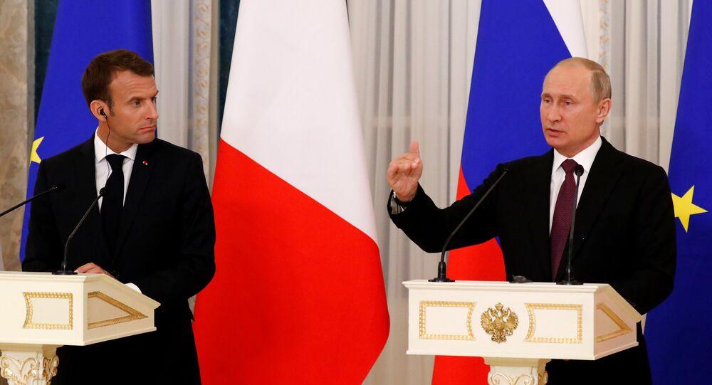 Fransa Cumhurbaşkanı Emmanuel Macron- Rusya Devlet Başkanı Vladimir Putin