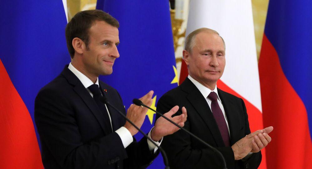 Fransa Cumhurbaşkanı Emmanuel Macron -  Rusya Devlet Başkanı Vladimir Putin