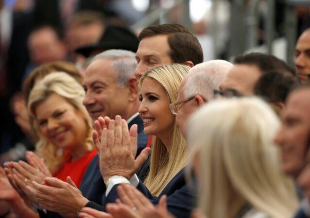 ABD'nin Kudüs Büyükelçiliği açılışı, Sara Netanyahu, Benyamin Netanyahu, Jared Kushner, Ivanka Trump (soldan sağa)