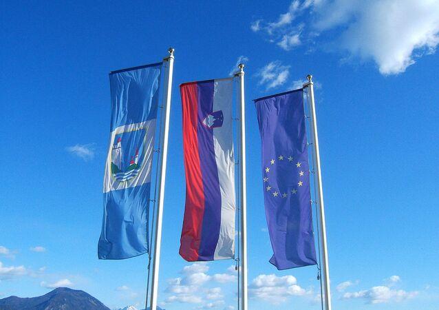 Slovenia EU flags
