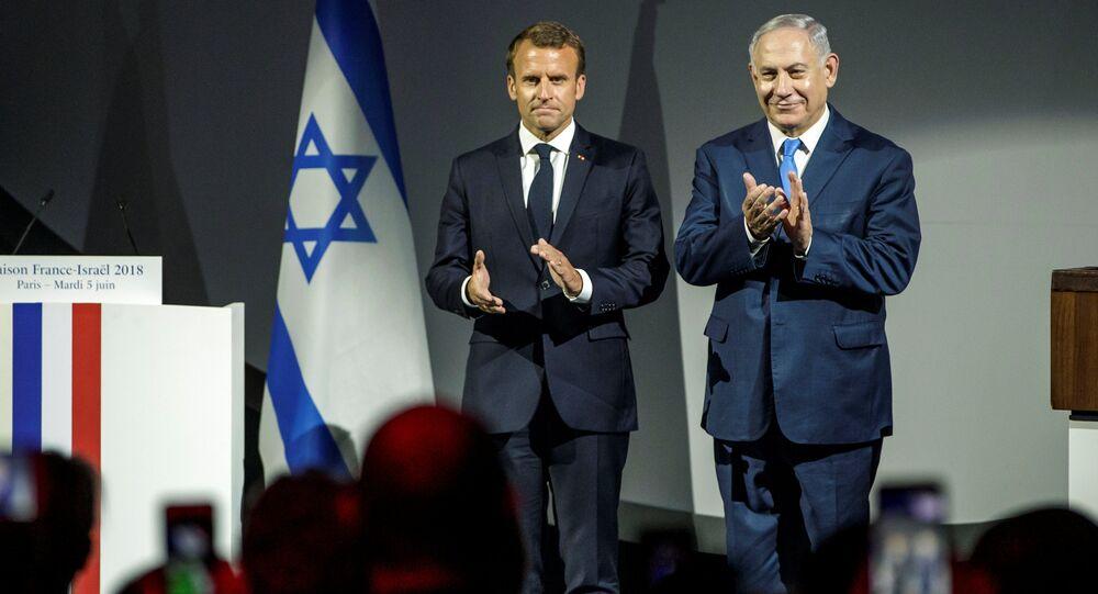 Fransa Cumhurbaşkanı Emmanuel Macron ve İsrail Başbakanı Benyamin Netanyahu