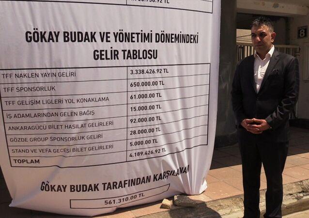Başkan, borçların yazılı olduğu pankartı stat kapısına astırdı