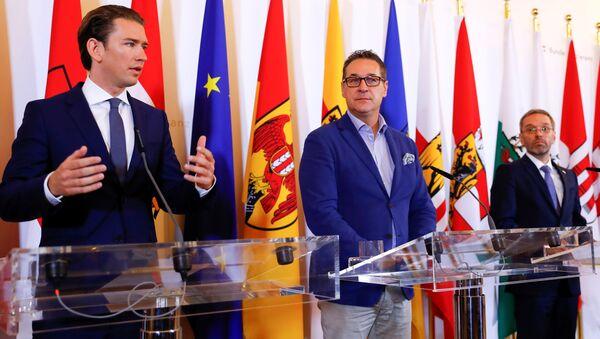 Avusturya Başbakanı Sebastian Kurz, Başbakan Yardımcısı Heinz-Christian Strache ve İçişleri Bakanı Herbert Kickl - Sputnik Türkiye