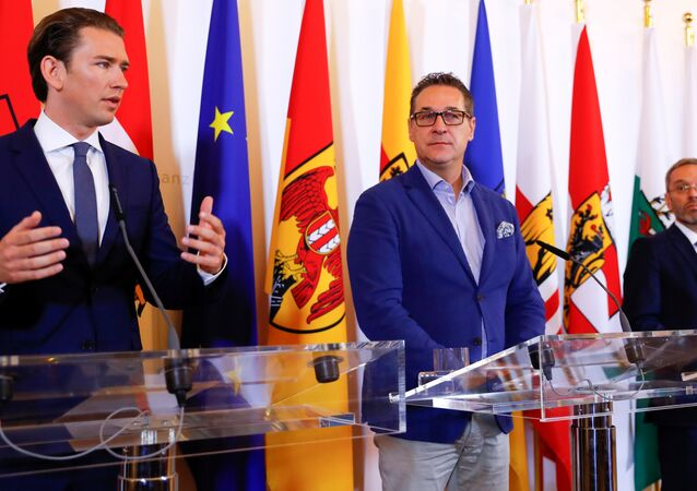 Avusturya Başbakanı Sebastian Kurz, Başbakan Yardımcısı Heinz-Christian Strache ve İçişleri Bakanı Herbert Kickl