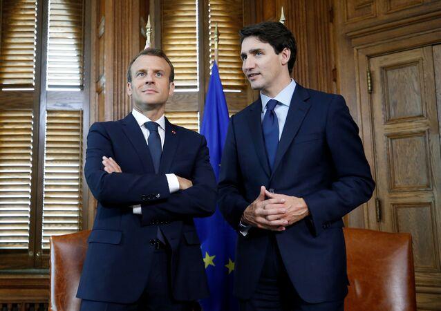 Fransa Cumhurbaşkanı Emmanuel Macron- Kanada Başbakanı Justin Trudeau
