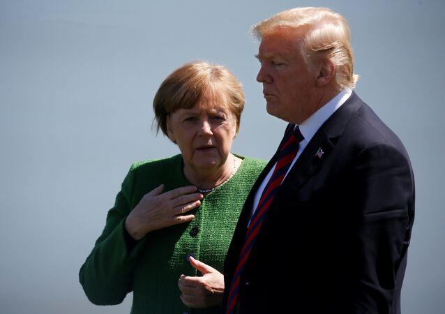 ABD Başkanı Donald Trump-Almanya Başbakanı Angela Merkel