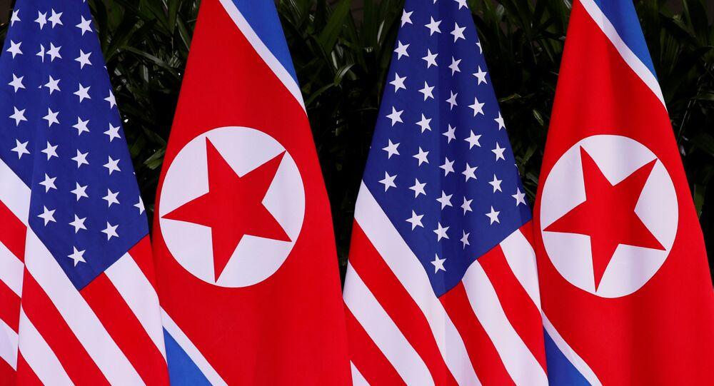 ABD ve Kuzey Kore bayrakları