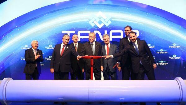 TANAP'ta ilk gaz akışı Erdoğan, Aliyev, Akıncı, Vucic ve Poroşenko'nun katılımıyla gerçekleşti - Sputnik Türkiye