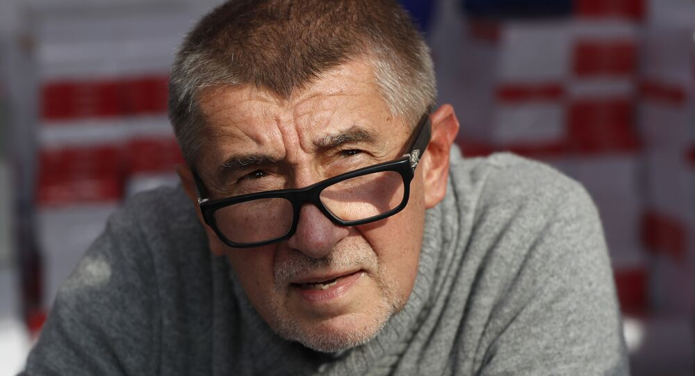 Czech billionaire and leader of the ANO 2011 political movement Andrej Babis meets with his supporters during a campaign rally in Prague, Czech Republic, Thursday, Sept. 28, 2017. Czech Republic is holding general elections from Oct. 20 to 21, 2017.