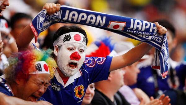 2018 Dünya Kupası'nda ulusal takımını destekleyen bir Japon taraftar - Sputnik Türkiye