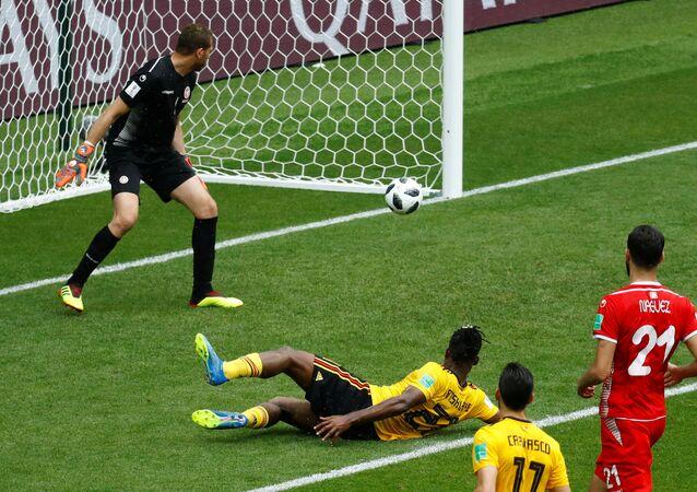 Soccer Football - World Cup - Group G - Belgium vs Tunisia - Spartak Stadium, Moscow, Russia - June 23, 2018 Belgium's Michy Batshuayi scores their fifth goal