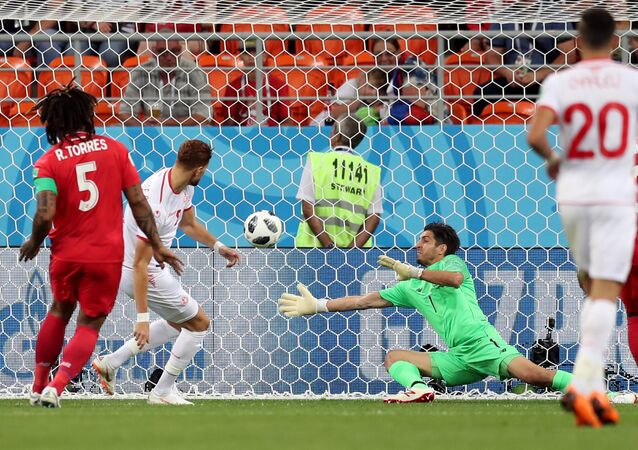 لحظة إحراز هدف التعادل للمنتخب التونسي أمام بنما في كأس العالم 2018
