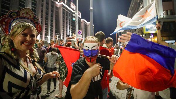İspanya zaferinin ardından kutlama yapan Rus taraftarlar - Sputnik Türkiye