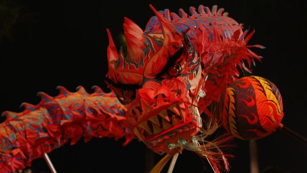 Çin, Hong Kong, ay takvimine göre yeni yıl kutlaması, ejderha dansı - Sputnik Türkiye