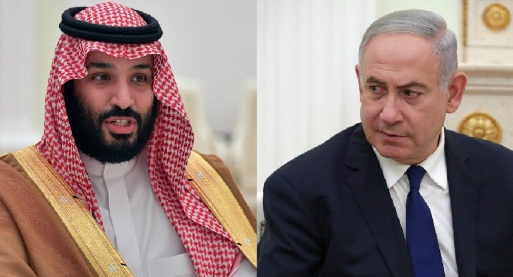Saudi Crown Prince Mohammad bin Salman Al Saud (L) and Israeli Prime Minister Benjamin Netanyahu