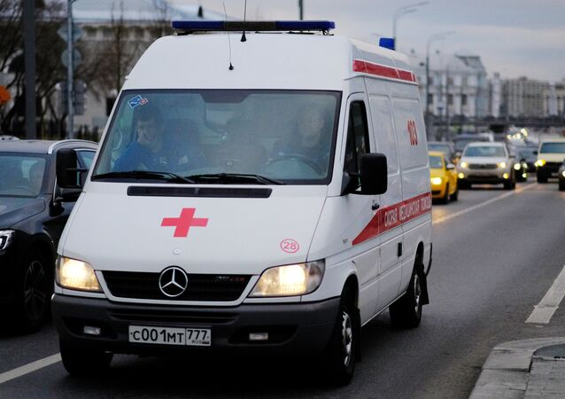 An ambulance vehicle in Moscow