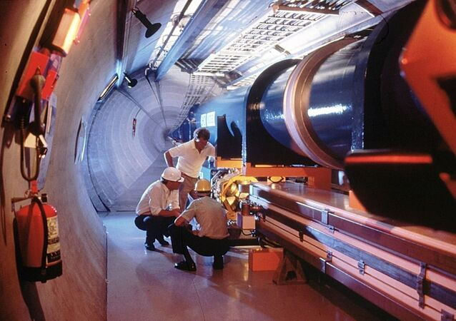 An undated picture released by the CERN, European Council for Nuclear Research, shows a mock-up of the Large Hadron Collidor or LHC atom-smasher which is to be built in an existing 27 kilometers tunnel near Geneva