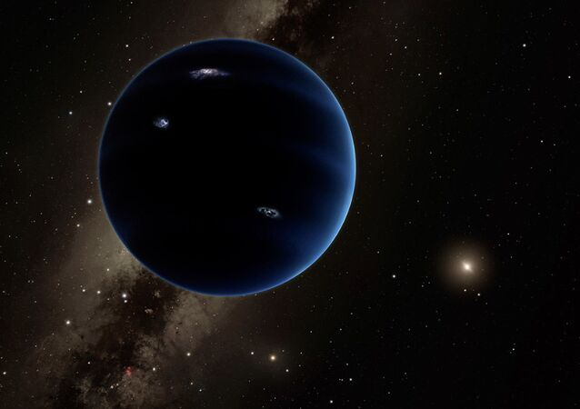 This is a distant view from Planet Nine back towards the sun. The object is thought to be gaseous, similar to Uranus and Neptune.