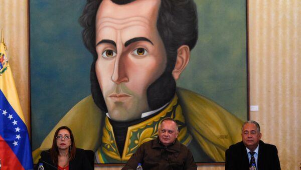 Venezüella Ulusal Kurucu Meclis Başkanı Diosdado Cabello, Birinci Başkan Yardımcısı  Elvis Amoroso ve İkinci Başkan Yardımcısı Tania Diaz - Sputnik Türkiye