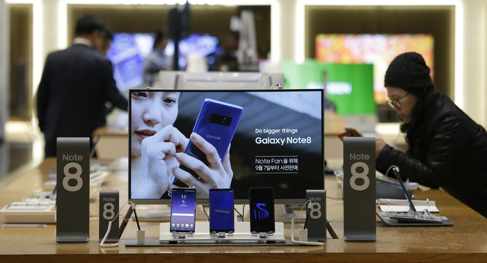 Samsung Electronics' Galaxy Note 8 are displayed at its shop in Seoul, South Korea, Tuesday, Oct. 31, 2017